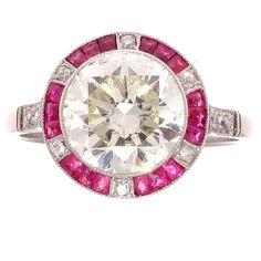 Old European Cut 2.81 Carat Diamond Ruby Platinum Engagement Ring