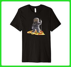 Mens Meow the Astronaut Cat In Space Riding A Slice of Pizza Small Black - Animal shirts (*Amazon Partner-Link)