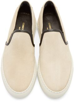 Common Projects Beige Waxed Suede Slip-On Shoes