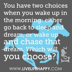 You Have Two Choices When You Wake Up In The Morning: Either Go Back To Sleep And Dream, Or Wake Up And Chase That Dream. Which Will You Choose?