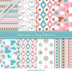 Patrones decorativos en colores pastel para el día de san valentín Vector Gratis