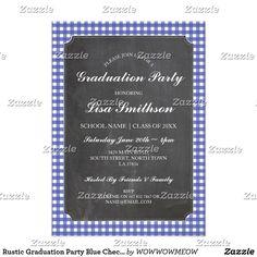 The 45 best zazzle graduation invites images on pinterest rustic graduation party blue check chalk invite filmwisefo