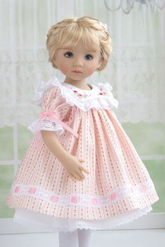 The dress is made of a beautiful high quality Japanese cotton fabric. Used French lace. I used ribbons of natural silk.The collar is decorated with beautiful embroidery bullion roses. The fabric on the collar is Swiss Batiste.   eBay!
