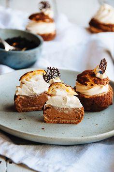 Earl Grey and Dark Chocolate Cream Puffs / Hint of Vanilla Mini Desserts, Just Desserts, Dessert Recipes, Gourmet Desserts, Plated Desserts, Pastry Recipes, Baking Recipes, Cream Puff Dessert, French Pastries