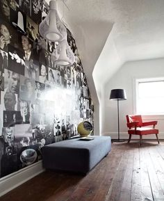 DIY wallpaper with magazine photos -- perfect for a rental space! Actually this looks pretty sick