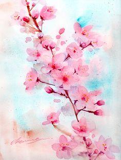 Sakura Wallpaper, Cherry Blossom Wallpaper, Cherry Blossom Watercolor, Sakura Cherry Blossom, Pink Flower Wallpaper, Pink Blossom, Cherry Blossoms, Acrylic Painting Flowers, Pink Painting