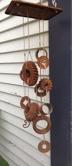 Garden windchime from car parts