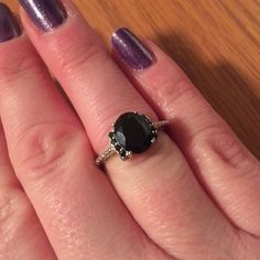Thai Black Spinel Ring in Platinum Thai Black Spinel (Ovl 3.40 Ct) Ring in Platinum Overlay Sterling Silver Nickel Free (Size 7) TGW 3.60 Cts. NWT beautiful ring! No Trades Jewelry Rings