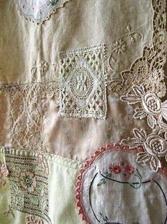 Vintage quiltNJs Crazy Quilting, Patchwork Quilting, Quilting Ideas, Quilting Templates, Antique Lace, Vintage Lace, Vintage Sewing, Fabric Art, Fabric Crafts