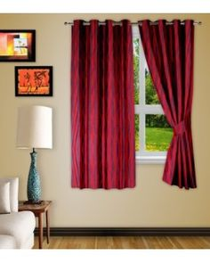 aa9cd6a39f Polyester Maroon Printed Eyelet Window Curtain