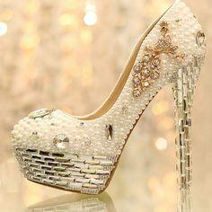 2014 Newest Rhinestone Pearl edding Shoes Crystal Tassels Bride Wedding Shoes Women's Shoes Nightclub Platform Dress Shoes //   Цена: $ US $78.11 & Бесплатная доставка //    #fashionmartonline #мода #стиль