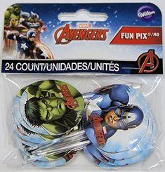 Wilton Marvel Avengers Fun Pix Cupcake Toppers, Multicolor