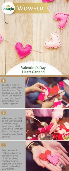 This heart garland is sure to add some extra wow to your Valentine's Day celebration. Valentine Day Love, Valentine Day Crafts, Valentine Decorations, Holiday Crafts, Holiday Fun, Crafts To Make, Fun Crafts, Crafts For Kids, Craft Projects