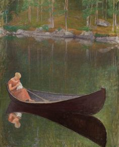 Woman in a Boat, 1922 - Pekka Halonen  (Finnish, 1865 – 1933)