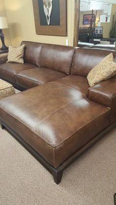 Natuzzi Editions Cognac Leather Sectional B633 Interior