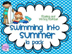 New updated clip art and fonts ! Swimming into Summer Reading and Writing Language Arts  Pack