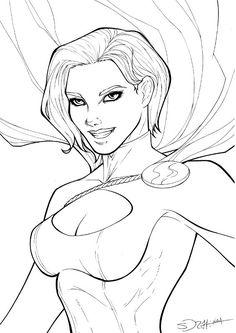 Powergirl, in NickiAndrews's Inking work Comic Art Gallery Room