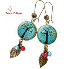 """Boucles d'oreilles """" jardin d'eden """" arbre petites fleurs cabochon turquoise bronze bijou"""