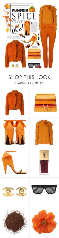 """""""Monochrome: Pumpkin Spice"""" by shortyluv718 ❤ liked on Polyvore featuring Kenzo, See by Chloé, Calvin Klein 205W39NYC, Yves Saint Laurent, Chanel, Victoria Beckham, NOVICA and pumpkinspice"""