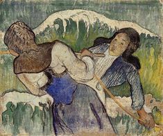 Kelp gatherers, 1890 by Paul Gauguin, Breton period. Post-Impressionism. genre painting. Private Collection