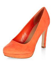 Wide Fit Orange Platform Court Shoes | New Look