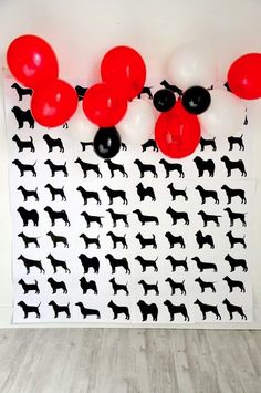 FREE Printable Doggy Party Photo Booth Backdrop Modern French Bulldog And Friends Dog Birthday