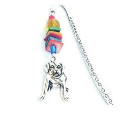 Bold and quirky, Staffie Bulldog bookmark, lovingly handmade in Northern Ireland. Ive used glass beads to compliment a Tibetan style marker and finished it off with a silver coloured charm. The bookmark measures approximately 9 cm and comes presented in an organza bag, making it perfect as gift or Gifts For Readers, Busy Bee, Stocking Fillers, Im Happy, Organza Bags, Northern Ireland, My Images, Bag Making, Markers