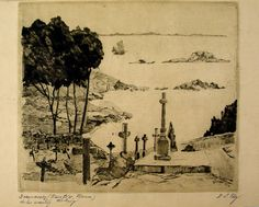 Vintage Etching - French Sailors Graveyard