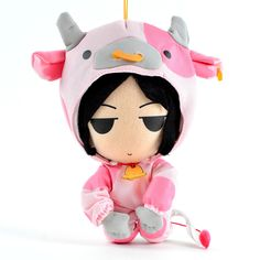 """Dressed in an adorable cow cosplay, this plush with a height of 7.25"""" is based on Sebastian from the wildly popular Black Butler franchise! The pink of his cow costume allow his black eyes and hair to stand out boldly for a cute design. Consider setting Sebastian up alongside the matching Black Butler plush toys available on the Tokyo Otaku Mode Premium Shop including Ciel and Grell!  #tokyootakumode #plushie"""