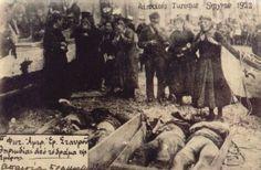 Greek civilians mourn their dead relatives, Smyrna massacre, 1922.
