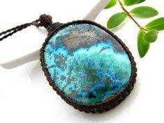 Azurite Necklace, Chrysocolla Necklace,  Azurite Malachite, Macrame necklace, Healing Stones and Crystals, Malachite necklace, Blue lover