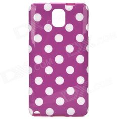 Protective Polka Dot Plastic Back Case for Samsung Note 3 / N9000 - Purple + White