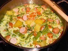 Zutaten 2 Zwiebel(n), rot 600 g Kartoffel(n) 500 g Karotte(n) 2 Kohlrabi 2 EL Butter oder Margarine 1 Liter Fleischbrühe, ...