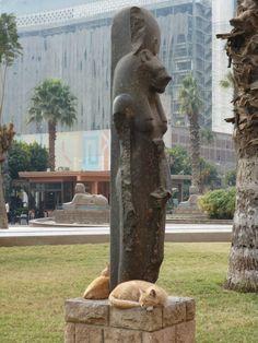 Nondas Puma  Sekmet with her kitties - Cairo Museum