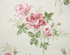 1940's Vintage Wallpaper Pink Rose Bouquets on by HannahsTreasures