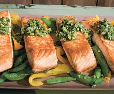 Salmon with Snap Peas, Yellow Peppers, and Dill-Pistachio Pistou recipe