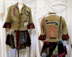 Bohemian Velvet Coat. Plus Size Patchwork Jacket by KheGreen