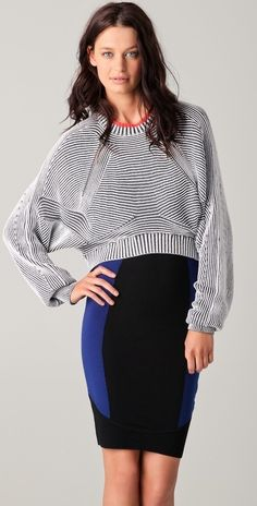 Alexander Wang Bicolor Ribbed Sweater thestylecure.com