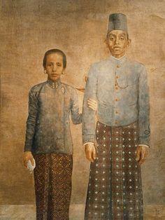 Javanese Nobleman and his Wife-Raden Saleh Surakarta, Indonesian Art, East Indies, Javanese, Traditional Outfits, Fine Art, History, Ikat, Royals