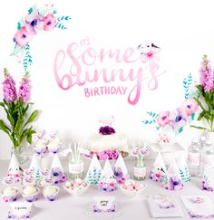 """Printable Party Pack """"It's Some Bunny's Birthday"""" Watercolour Party Printables for first birthday party including bunny backdrop by BillyandScarlet on Etsy https://www.etsy.com/listing/235883933/printable-party-pack-its-some-bunnys"""