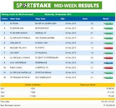 #SportStake Mid-Week Results - 04 November 2015  https://www.playcasino.co.za/sportstake-mid-week-results-04-november-2015.html