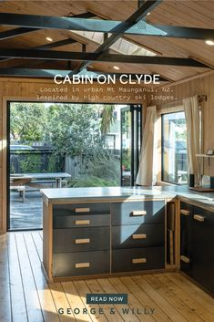 Built-in 1991, the cabin was once non-descript, and pretty uninspiring. Take a look at this DIY urban home remodel by the self-taught signage and letter board designers behind George & Willy. Modern Cabin Interior, Home Interior, Kitchen Interior, Kitchen Design, Interior Design, Buy Kitchen Cabinets, Kitchen Island, Suburban House, Modular Walls