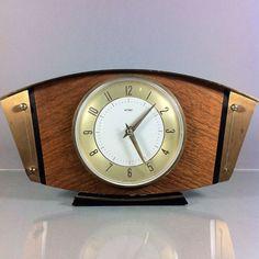 wood clock | Vintage English Made Metamec Retro Brass Wood Mantle Clock | eBay