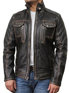 Mens Leather Biker Jacket Black Vintage genuine lambskin ... Ropa  Masculina f46043202c50