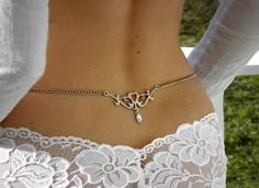 Erotic back jewelry chain tribal tattoo design with clear crystal. $15.00, via Etsy.