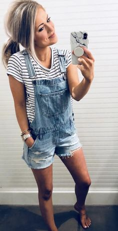 Ripped Shorts Denim Romper – Chiclotte , For More Fashion Visit Our Website cute summer outfits, cute summer outfits outfit ideas,casual outfits Ripped . Summer Outfits For Moms, Trendy Outfits, Fashion Outfits, Casual Summer Outfits Shorts, Work Outfits, Bbq Outfit Ideas Summer, Outfits With Overalls, Ripped Shorts Outfit, Casual Summer Outfits Women