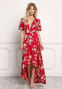 Red Floral Wrap Hi-Lo Maxi Dress