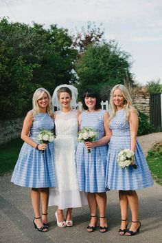 Image by KRAAN Wedding Photography - Contemporary Wedding At The Nevill Arms Leicestershire With A Preppy Green And Navy Striped Colour Scheme With Bride In Ankle Length J.Crew Dress And Groom In Suit From Brooks Brothers With Bridesmaids In Nautical Dresses From Dig For Victory