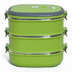 Three Layer Stainless Steel and Silicone Sealing Bento Lunch Box Rectangle Design Food Containers for Work- $40 Amazon