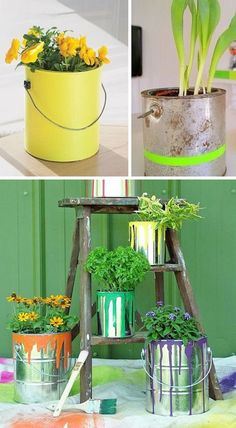 Use paint cans as planters! If you don't have nice old paint cans, you could buy new ones at Home Depot and age them up with paint drips and a hammer. Paint Can Planters, Diy Planters, Garden Planters, Planter Ideas, Diy Garden Projects, Garden Crafts, Container Plants, Container Gardening, Ideas Para Decorar Jardines
